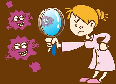 ウイルスを見つめる女性